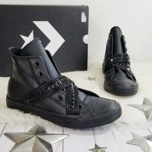 Converse punk strap sneakers black leather hi top